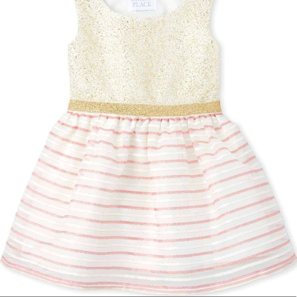 4T- Sleeveless Pleated Dress Simply White Stripes